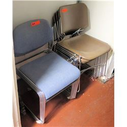 Qty 2 Stacks Chairs - 5 @ Blue Upholstered, 6 @ Brown Plastic