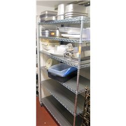 Large Metal Adjustable Kitchen Shelf Unit on Wheels w/ Misc Containers