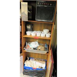Wooden Shelf Cabinet w/ Dishes & Misc Kitchen Equipment