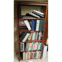 Wooden Shelf Cabinet w/ Multiple Misc Cookbooks