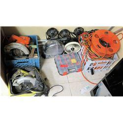 Multiple Misc Tools, Fans, Cords, etc
