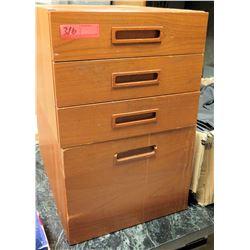 Wooden 4 Drawer Short Storage Utensil Cabinet
