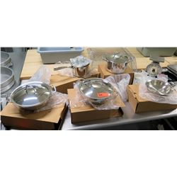 Qty 5 New Pots Pans in Boxes w/ Scale & Misc