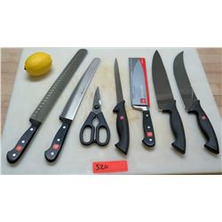 Qty 6 Wusthof Classic Pro Chef Knives & Cooking Scissors