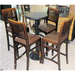 Qty 3 Round Bar-Height Tables & 4 Upholsterded Barstools