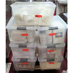 Qty 7 Plastic Bins w/ Dishes, Ramekins, Pfaltzgraff Basics, etc