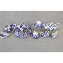 "Selection of Royal Crown Derby ""Mikado"" including tea pot, cream and lidded sugar, sandwich tray, ca"