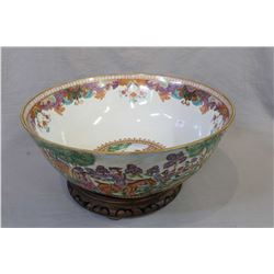 """Early, likely English made beautiful large 16 1/2"""" diameter bowl with hand-painted hunt scenes and g"""
