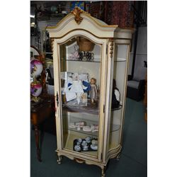 French style single door, illuminated display cabinet with curved glass side panels and bevelled gla