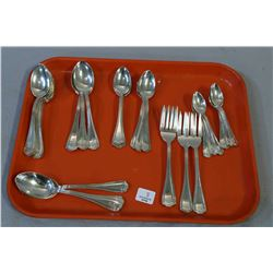 "Birks sterling "" Georgian Plain"" flatware including twelve teaspoons, six smaller teaspoons, seven c"