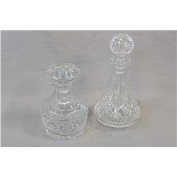 """Signed Waterford 10 1/2"""" crystal drinks decanter and a 7"""" crystal decanter, possibly Waterford, no m"""