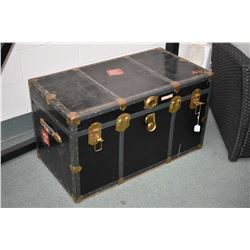 """Metal bound steamer trunk with tray 36"""" X 20"""" X 19"""""""
