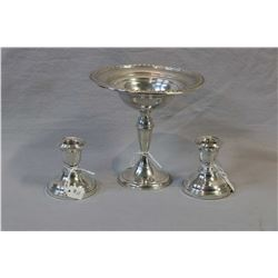 """Sterling silver 6"""" comport and a pair of sterling candleholders"""