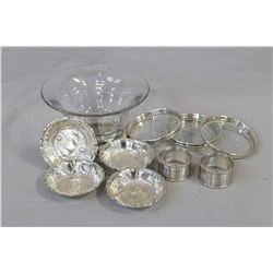 """Selection of Birks sterling silver including 3"""" glass and sterling candy dish, four matching embosse"""