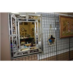 """Vintage Venetian etched glass mirror 39"""" X 31"""" overall dimensions and a smaller wall mirror"""