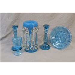Selection of vintage glass including pair of blown candlesticks, blue glass girandole, pressed glass
