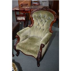 Antique button tufted parlour chair with carved rosewood frame