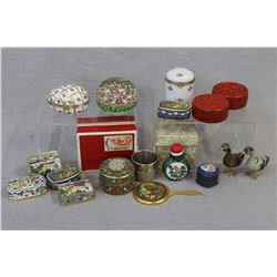 Selection of small cabinet pieces including enamelled boxes, small mirror, glass snuff bottle, duck