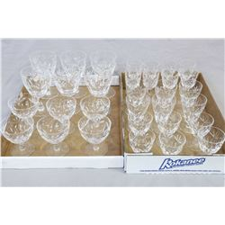 Two tray lots of signed Webb & Corbett crystal stemware including six each of wine glasses, juice gl