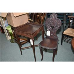 Antique all wood, carved back chair and a occasional table with decorative skirt
