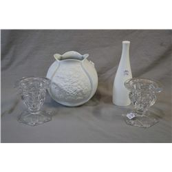 Kaiser white ware vase, a Royal Doulton Impressions bud vase and two Royal Doulton heavy crystal can