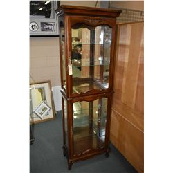 Narrow Victorian style semi-contemporary illuminated display cabinet with side glass panels and glas
