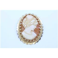 """Hand carved cameo in 14kt yellow gold bezel 1 1/4"""" in height, can be used as brooch and pendant"""