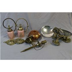Selection of vintage lamps and lamp accessories including brass ceiling fixture, two wall sconces wi