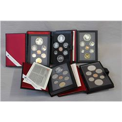 Five Canadian decimal coins sets including 1977, 1978, 1990, 1992 and 1993