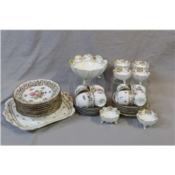 Selection of china collectibles including hand painted and footed Nippon sweet meat dish with six ma