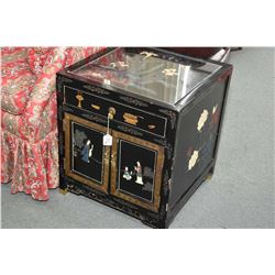 Two hand painted Oriental side tables, each with two doors, single drawers and glass top protector