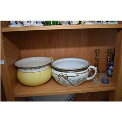 Shelf lot of collectibles including two English semi-porcelain commodes, selection of open salts, cl