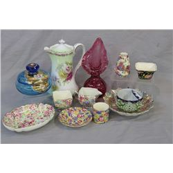 Selection of collectible vintage porcelain and glass including five pieces of Royal Winton chintz, t