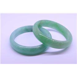 Pair of icy Burmese jadeite bangles