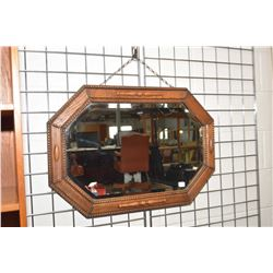 """Antique English oak octagonal bevelled wall mirror, overall dimensions 20"""" X 30"""""""