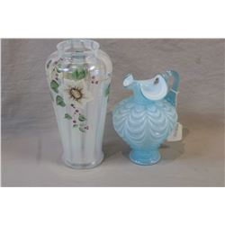 """Two pieces of Fenton glass including drapery pattern pitcher and a hand-painted 10"""" Vaseline glass v"""