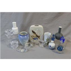 Large selection of glass and porcelain collectibles including signed paperweight, crystal birds, Roy