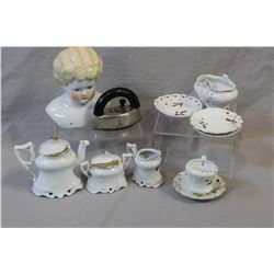 """China doll head 5"""" in height and a selection of tea items plus a small iron"""
