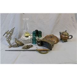 Two trays of vintage collectibles including copper bed warmer, footed tea pot, brass and copper carr