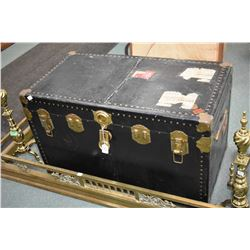 "Metal bound steamer trunk with tray 36"" X 20"" X 19"""