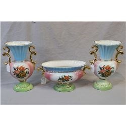 Three piece matching semi porcelain Victorian style center bowl and pair of vases plus an amethyst h