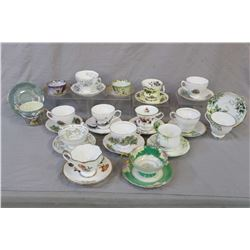 Fourteen china tea cups and saucers including Royal Albert, Royal Vale, Royal Grafton, Queen Anne, W