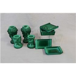 "Selection of vintage Art deco Czech Schlevogt/Hoffman Desna malachite glass including a pair ""Ingrid"