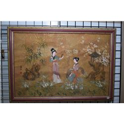 "Framed original Oriental painting signed by artist, 23 1/2"" X 35 1/2"""