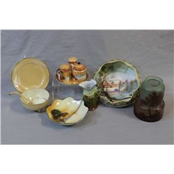Selection of vintage china collectibles including hand-painted Nippon and Noritake dishes, Galle sty