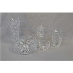 "Five pieces of quality crystal including signed Webb & Corbett 10"" trumpet vases, spooner and smalle"
