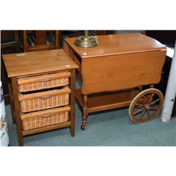 Maple drop leaf tea wagon with drinks tray and single drawer plus a modern side table with three wic