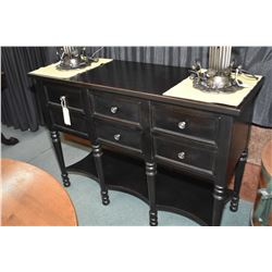 Modern six drawer sideboard with ebonized finish made by Hickory White