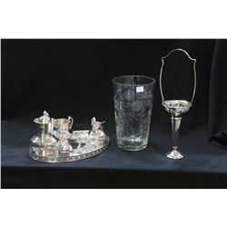 Selection of silver-plate including small tea service, shakers with cobalt liners, tea strainer, han