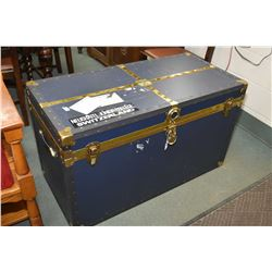 Modern metal bound blue steamer trunk with tray